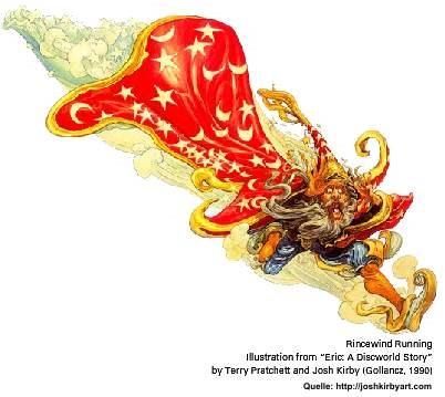 Rincewind rennend, gezeichnet von Josh Kirby, Quelle: http://joshkirbyart.com