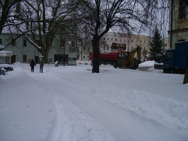 Náměstí v Odrách dne 9. ledna 2010