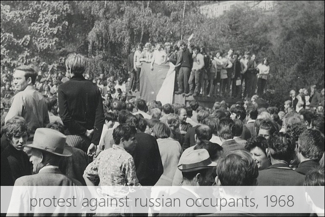 August 1968, protest against soviet occupation